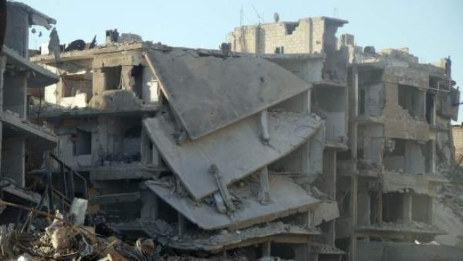 Fotografía de edificios destruidos en Guta Oriental (Siria).
