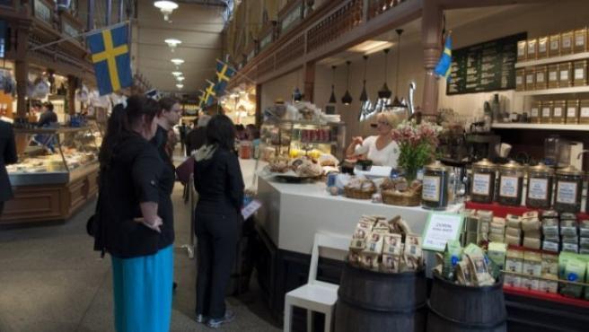 Imagen de un mercado en Estocolmo.