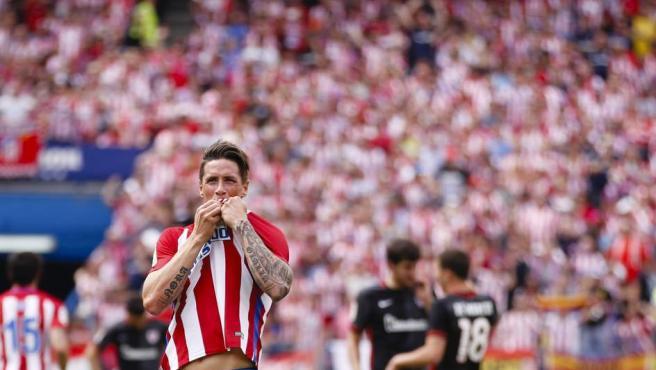 Así celebró Fernando Torres uno de sus goles ante el Athletic.