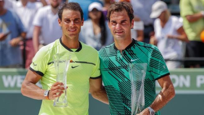 Nadal y Federer, en Miami.