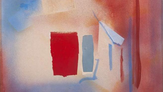 Sin título, 1988, Esteban Vicente. Técnica mixta y collage sobre tela. 71 x 86,5 cm