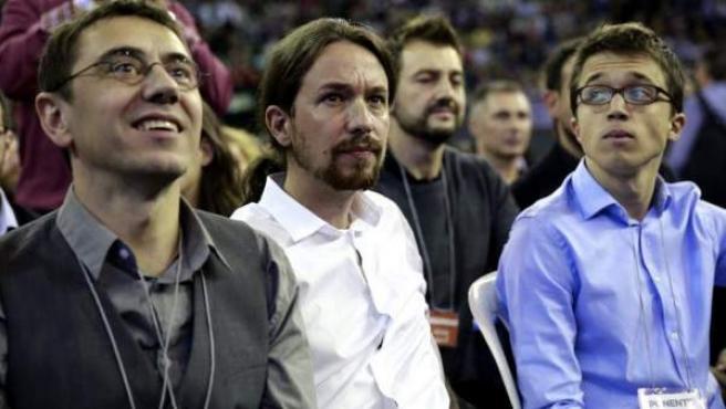 Juan Carlos Monedero, Pablo Iglesias e Íñigo Errejón, en uno de los primeros actos públicos de Podemos.