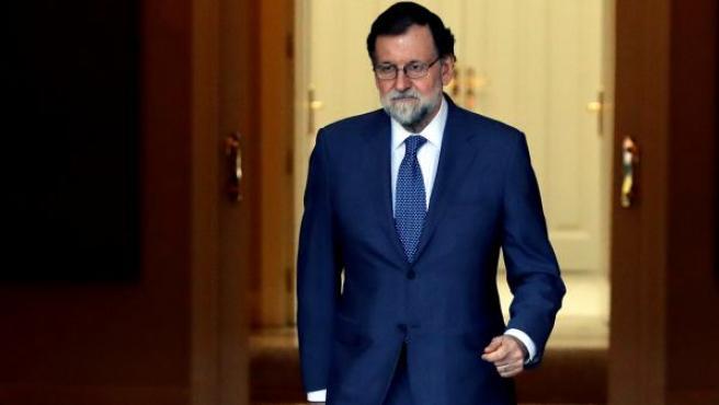 El presidente del Gobierno, Mariano Rajoy, en el Palacio de la Moncloa.