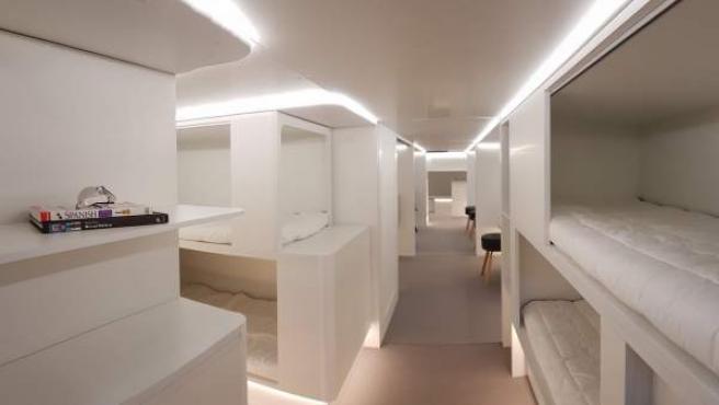 Imagen ficticia de cómo se implantarían las habitaciones en los aviones.