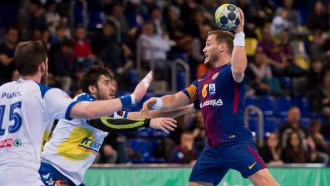 Una magen del partido entre Barcelona y Granollers.