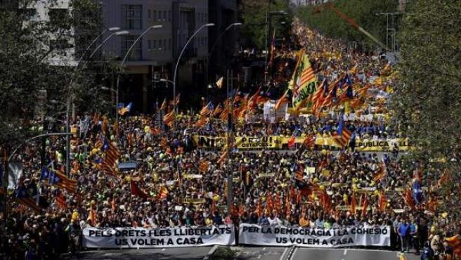 Manifestación en Barcelona para reclamar la libertad de los políticos soberanistas presos.