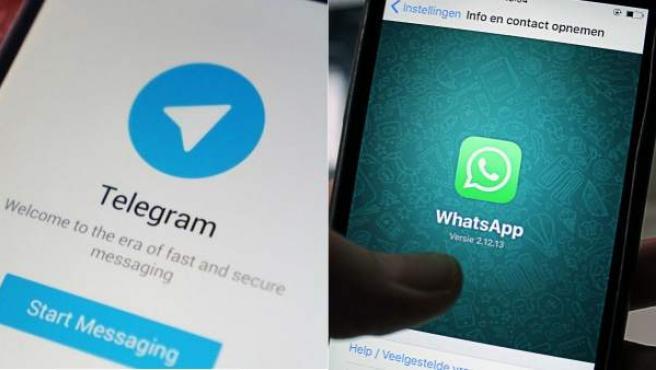 Las 'apps' de mensajería instantánea Telegram y WhatsApp.