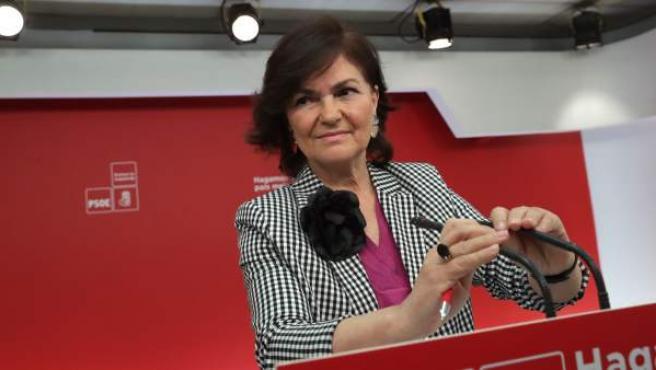 Carmen Calvo, en una rueda de prensa en Ferraz.