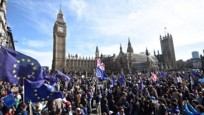 Protesta contra el 'brexit' en Londres, en el 60 aniversario de la UE.