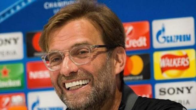 Jürgen Klopp, técnico del Liverpool, en una rueda de prensa.