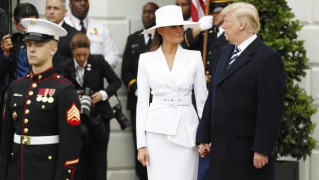 Melania y Donald Trump durante la visita de Emmanuel Macron a Washington.