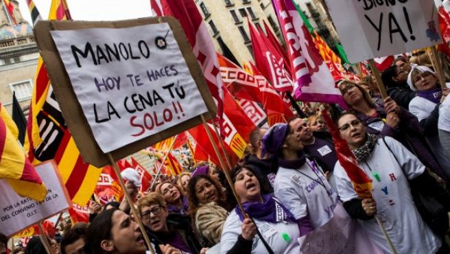 La manifestación feminista de Barcelona.