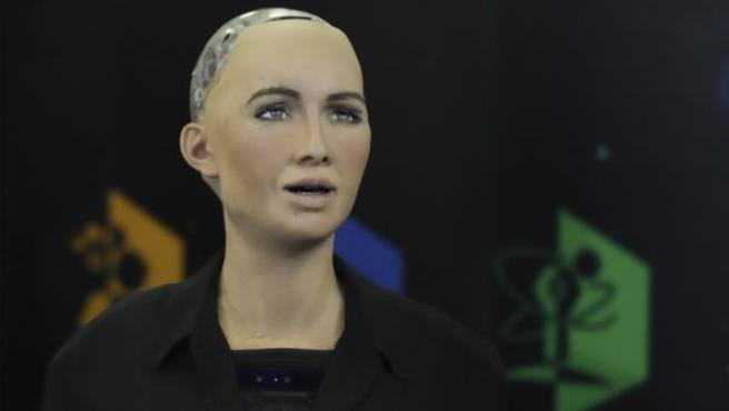 Vista del robot Sophia durante su presentación en el Talent Land, evento de innovación y tecnología que se celebra en la ciudad de Guadalajara (México).