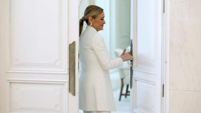 Cristina Cifuentes tras dimitir como presidenta de la Comunidad de Madrid.