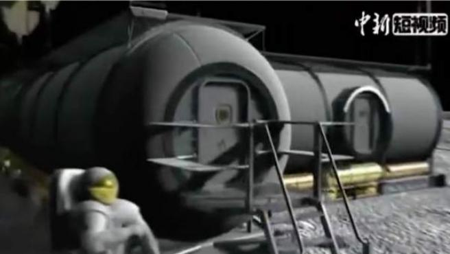 Recreación por ordenador de la base habitable que China quiere construir en la Luna.
