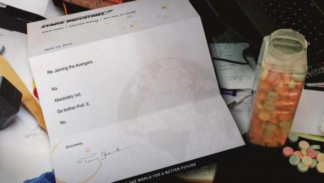 La supuesta carta en la que Tony Stark rechaza que Deadpool se una a los Vengadores.