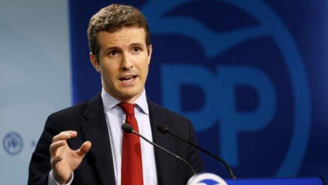 El portavoz del Partido Popular, Pablo Casado.