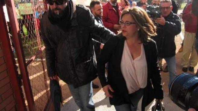 Ángeles Muñoz en una de las ocasiones que acudió a los juzgados