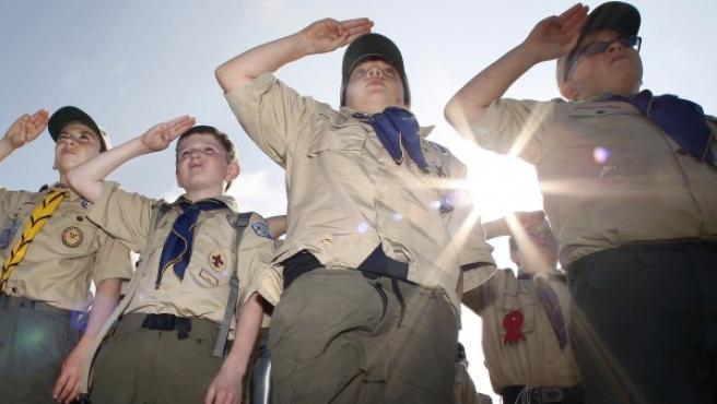 Boy Scouts en un campamento en Nueva Jersey, Estados Unidos.