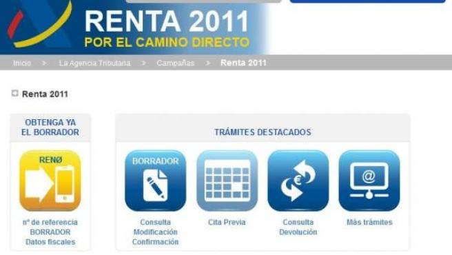 Imagen de la web de consulta del borrador de la Renta, cuya página aparece colapsada.