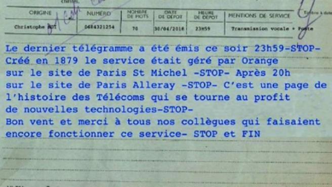 El último telegrama de la historia de Francia.