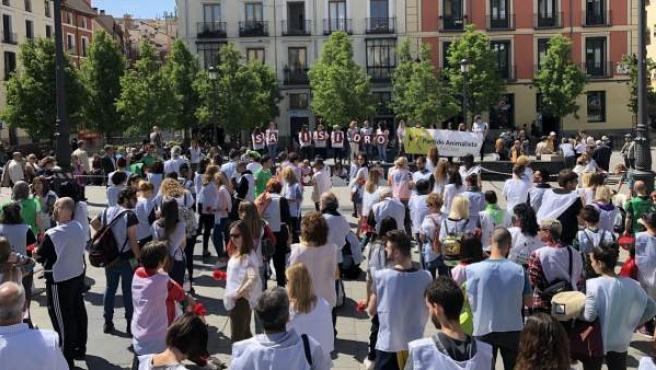 Centenares de personas en la Plaza de Ópera de Madrid, en un acto simbólico contra la tauromaquia.