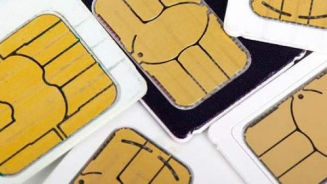 Tarjetas SIM de teléfonos móviles.
