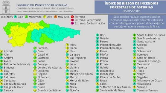 Mapa riesgo de incendios forestales