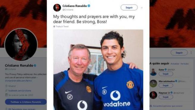 El jugador del Real Madrid Cristiano Ronaldo mandó un mensaje de apoyo a sir Alex Ferguson.