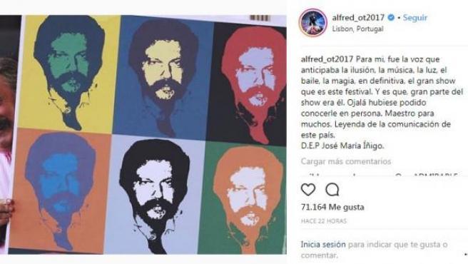 Mensaje de Alfred a José María Íñigo tras su fallecimiento.
