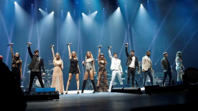 Los concursantes de Operación Triunfo 2017 durante su concierto en el Palacio de Vistalegre, en Madrid.
