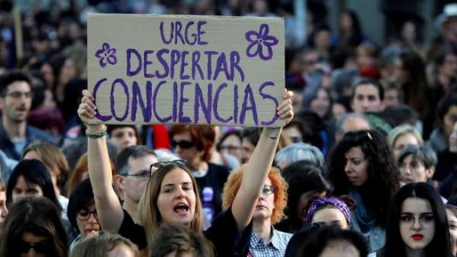Protesta contra la sentencia de La Manada en el centro de Madrid.
