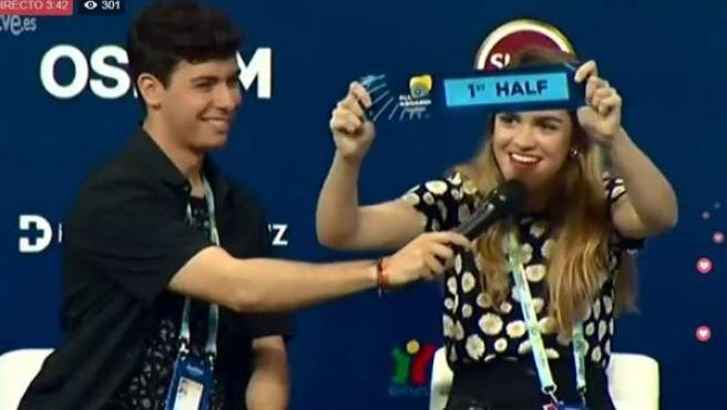 Imagen de Amaia y Alfred en rueda de prensa en Lisboa, donde han desvelado que actuarán en la primera mitad de la gran final de Eurovisión.