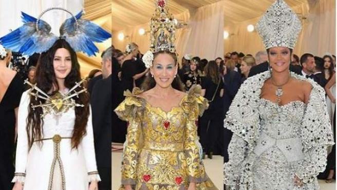 La cantante Lana del Rey, la actriz Sarah Jessica Parker y Rihanna a su llegada a la gala Met de 2018.