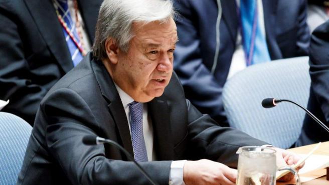 El secretario general de las Naciones Unidas, Antonio Guterres, interviene en el Consejo de Seguridad de la ONU.