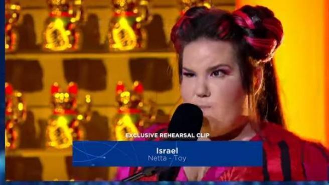 La cantante israelí Netta, durante un ensayo de Eurovisión 2018.