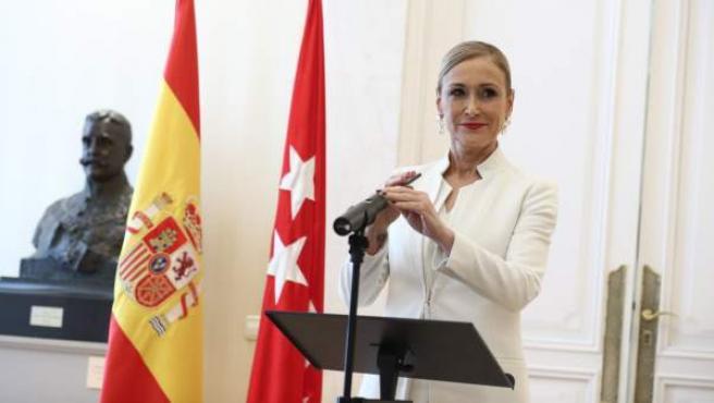 Rueda de prensa de Cristina Cifuentes en la que anunció su dimisión.
