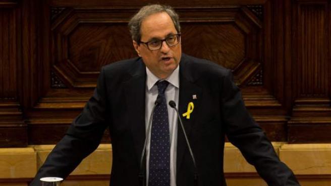 El candidato de JxCat a ser investido presidente de la Generalitat, Quim Torra, durante su discurso en la primera sesión del debate de investidura en el Parlament.