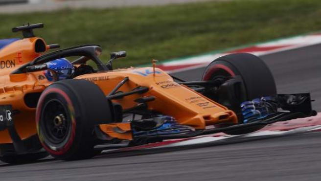 Fernando Alonso (McLaren), durante la clasificación del GP de España.