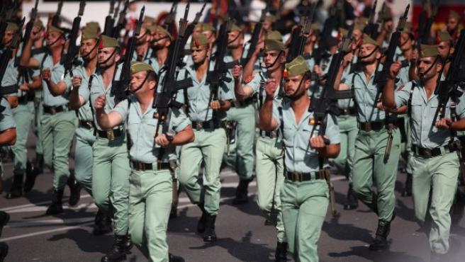 Desfile de la Legión durante la celebración del 12 de octubre de 2017.