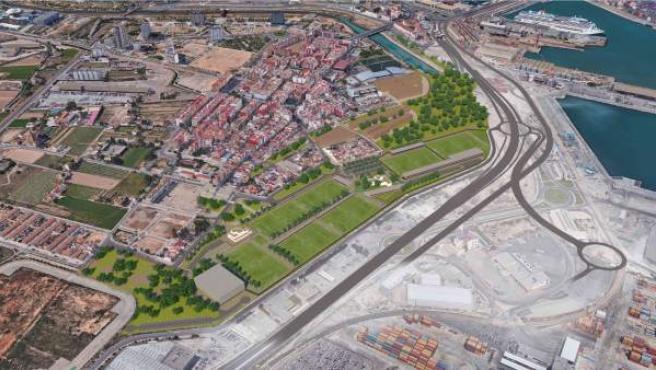 Proyecto de la ciudad deportiva del Levante UD en el barrio de Nazaret.