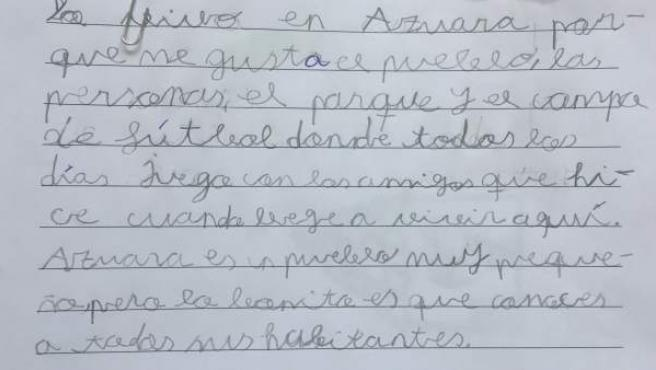 Una de las cartas sobre despoblación de un niño de la Comarca de Belchite