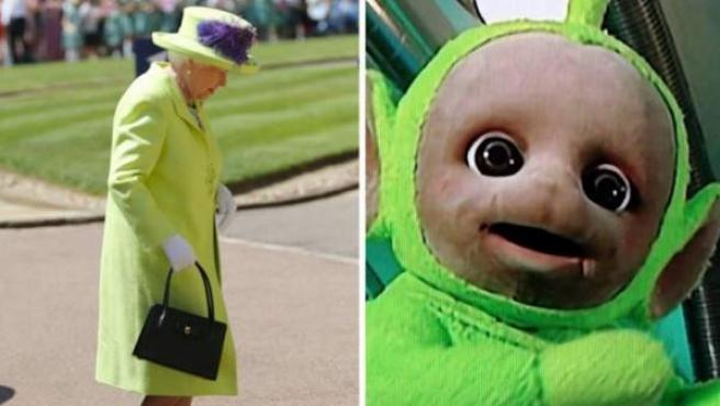 La boda de Meghan Markle y el príncipe Harry ha dejado muchísimos memes. Arriba, la reina Isabel II comparada con un teletubbie.