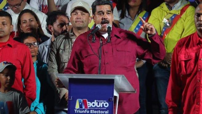 El presidente venezolano, Nicolás Maduro, tras proclamarse vencedor en las elecciones presidenciales de Venezuela.
