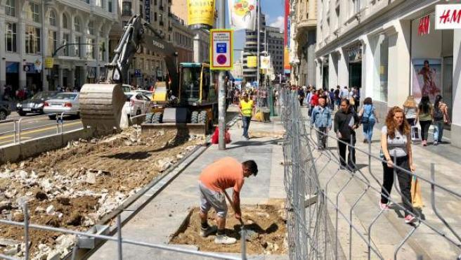 Obras de remodelación de la Gran Vía.