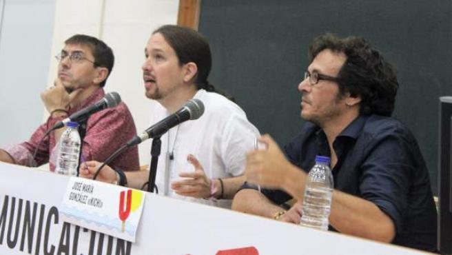 Juan Carlos Monedero, Pablo Iglesias y José María González Kichi, en una imagen de archivo.
