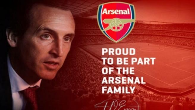 La web de Emery anunciando su fichaje por el Arsenal.