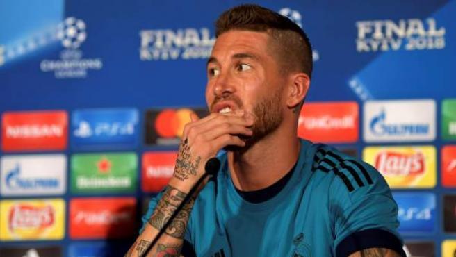 Sergio Ramos, , en su conferencia de prensa antes dela final de la Champions League 2017/18, en Kiev.