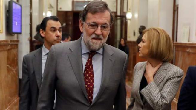 El presidente del Gobierno, Mariano Rajoy, al término de la sesión de control al Ejecutivo en el Congreso.