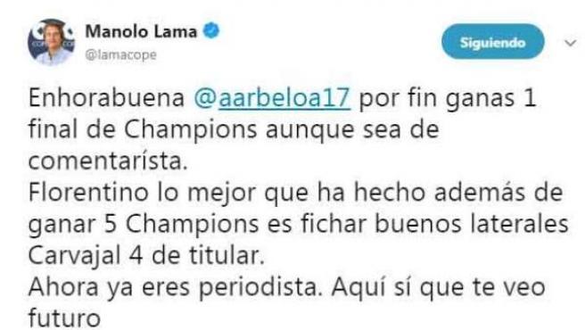 Tuit de Manolo Lama contra Álvaro Arbeloa.